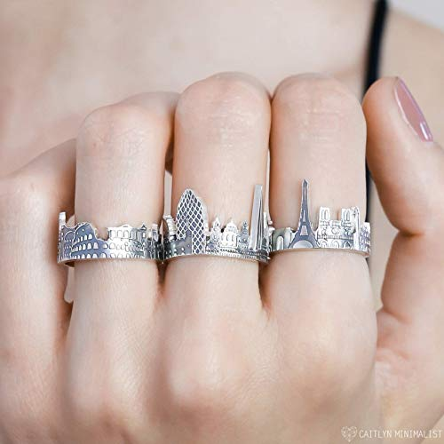 Custom City Ring Cityscape Ring Travel Ring Skyline Ring Statement Ring Friendship Ring Personalized Gift Wedding Gift