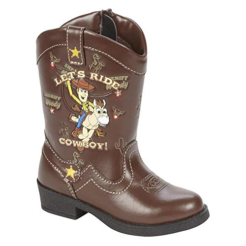 Disney Pixar Toy Story Toddler Boys Light Up Woody Cowboy Boots Brown, 11 US Little Kid