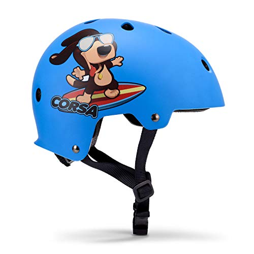 Asvert Fahrradhelm Kinder Kopfumfang 48-54 cm Skaterhelm Kinder BMX Helm Kinderhelm Skatehelm Scooterhelm Spaß Design Radhelm mit 9 Lüftungsöffnungen Verstellbarer (Blau, S)