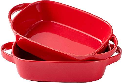 Ceramic Bakeware Set of two Rectangular Lasagna Pan Dish 10.5 x 6 In Red Baking sheets Baking pans Sheet pans Baking dish Baking provides Baking sheets for oven Cookware set Baking air pans Baking sheet
