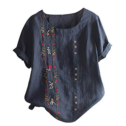 Floral Embroidered Shirt, QIQIU Womens Summer Fashion Bohemian Short Sleeve Linen O-Neck Plus Size Loose Tank Tops Navy
