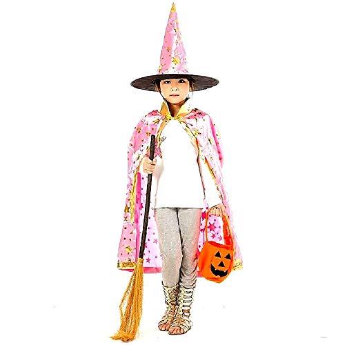 Set Strega - Mago Carnevale Mantello e Cappello Rosa con Stelle Dorate Misura 5-10 anni Costume Halloween Accessori Idea Travestimento Bambini Unisex Cosplay Regalo