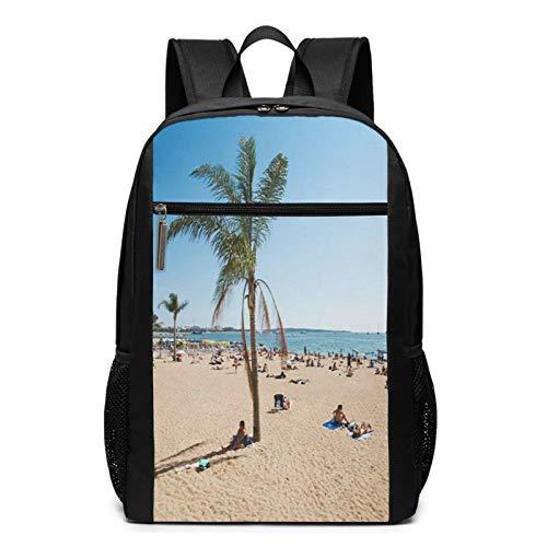 OMNVEQ Mochila Escolares Playa Sun Barcelona, Mochila Tipo Casual para Niñas Niños Hombre Mujer Mochila para Ordenador Portátil Viaje