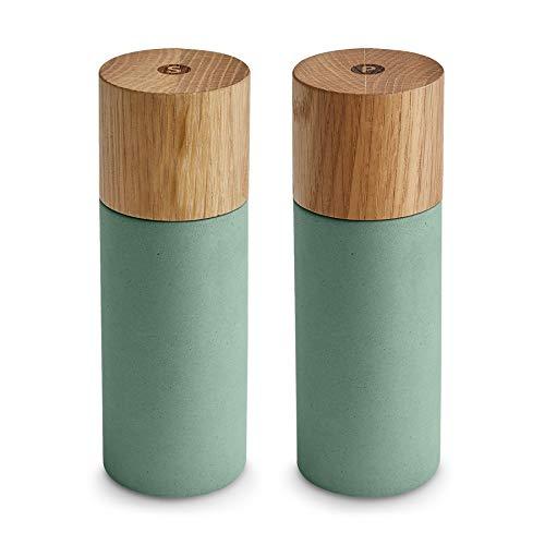 Salz & Pfeffermühle 2er Set aus Eichenholz & Beton, Gewürzmühle, Chilimühle, Verstellbares Keramikmahlwerk, Unbefüllt, Skandinavisches Design, Mint