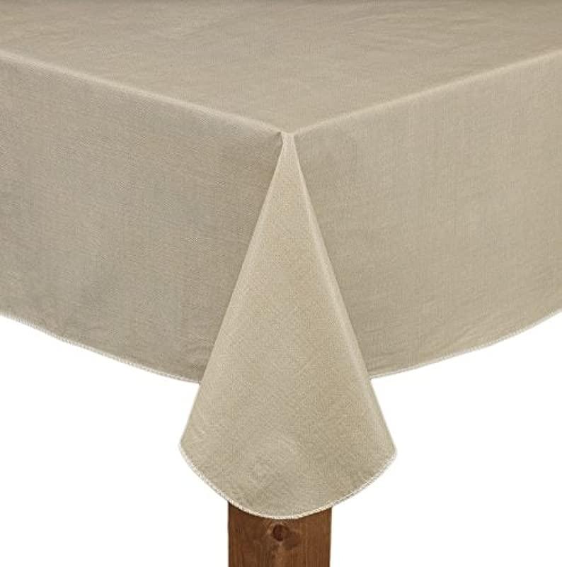 Cafe Deauville Sand 60x120 Oblong Rectangle Vinyl Tablecloth Kitchen