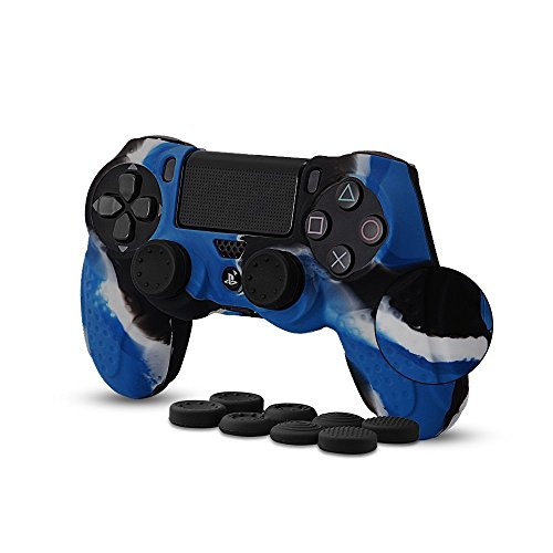 PS4 Controller Grip Skin Anti-Slip Silicone Case Cover for Sony Playstation 4 PS4/Slim/Pro Controller with 8 x FPS Pro Thumb Grips (Camou-Blue)