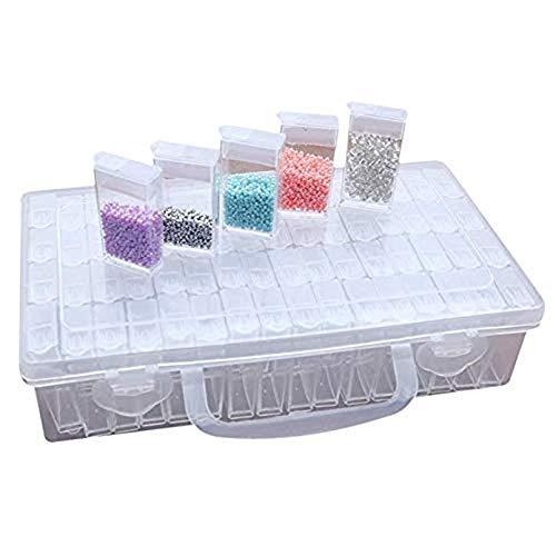 Zubehörteil Aufbewahrungsbox 64 Slots Plastik Sortierbox Klar Kunststoff Abnehmbar Fächer Sortimentskasten für Diamant Malerei Stickerei Nagel Strass Schmuck