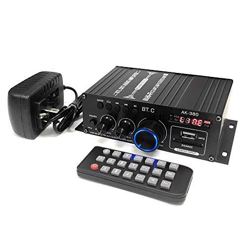 Bluetooth5.0対応 小型2chオーディオアンプ 出力40W+40W USB/SDカード再生可 アルミボディ Hi-Fiステレオ 12V/2Aアダプター/リモコン付 多機能パワーアンプ 各種音楽プレーヤー用 車載用アンプ FMTLPAK380