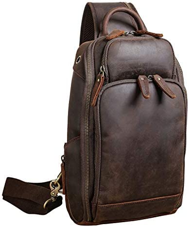 Polare Modern Style Sling Shoulder Bag Men s Travel Hiking Daypack with Full Grain Italian Leather product image