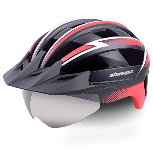 Shinmax Fahrradhelm,CE-Zertifikat,MTB Fahrradhelm mit LED USB Rücklicht Radhelm Abnehmbarem Magnetischem Visier für Herren Damen Mountain Road Fahrradhelm Einstellbarer Sicherheitsschutz Ski Snowboard