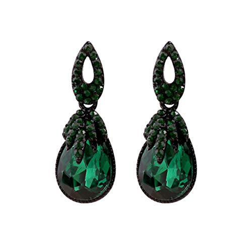 Qirun Pendientes Bohemios Verde Oscuro Bohemio Boho Vintage dijes joyería de Mujer Retro Moda Piedra Diamantes de imitación geométricos cuelgan Regalos