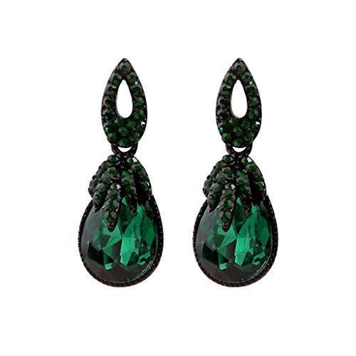 Njuyd - Pendientes bohemios de moda para mujer, estilo retro, con piedras de estrás geométricas, color verde oscuro