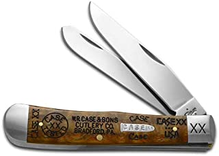 CASE XX Tang Stamps Curly Oak Wood Trapper 1/250 Stainless Pocket Knife Knives