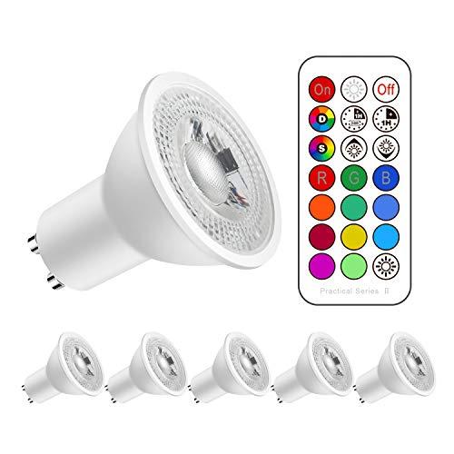 RGBW Dimmable Blanc Froid 6000k Couleur Changement de couleur Dimmable GU10 Ampoules LED 12 Choix de Couleur Télécommande Compris (Lot de 5)