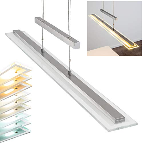 LED Pendelleuchte Junsele, dimmbare Hängelampe aus Metall in Nickel-matt m. Tastdimmer, Höhe max. 160 cm (verstellbar), Hängeleuchte m. 20 Watt, 1600 Lumen, Lichtfarbe 2700-6500 Kelvin