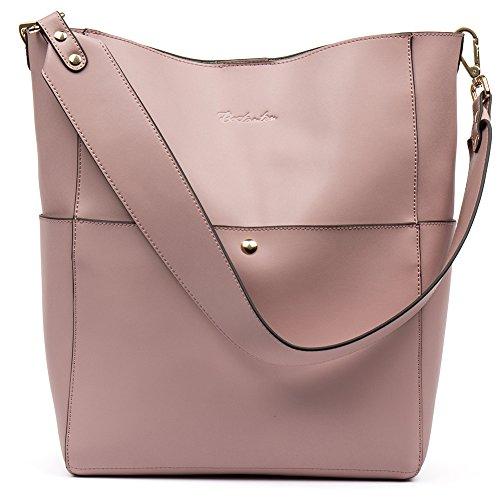 BOSTANTEN Leder Damen Handtasche Schultertasche Umhängetasche Designer Tasche Groß Taro Rosa