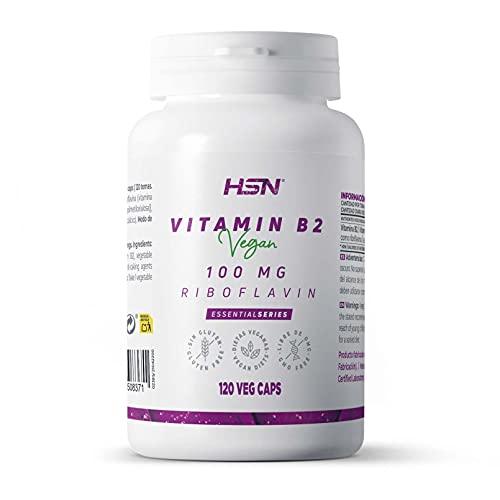 Vitamina B2 Riboflavina de HSN   100mg   Alta Concentración   Máxima Absorción   100% Segura   Suplemento Dietético para 4 Meses   No-GMO, Vegano, Sin Gluten, Sin Lactosa   120 Cápsulas Vegetales