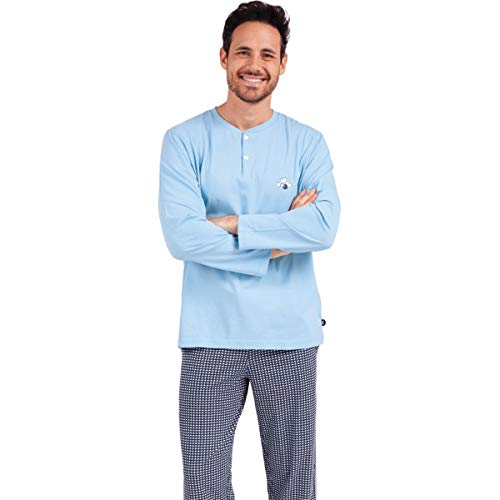 Eminence - Pyjama Long col T Homme Strike - Taille : XXL - Couleur : Ciel-Bowling