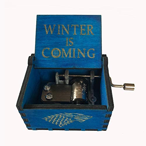 MINGZE Caja de música de Madera manivela, Pure Hand-Classical Music Box Hand-Wooden Music Box Creative Wooden Crafts Best Gifts, Variedad de Estilos (Game of Thrones(Blue))