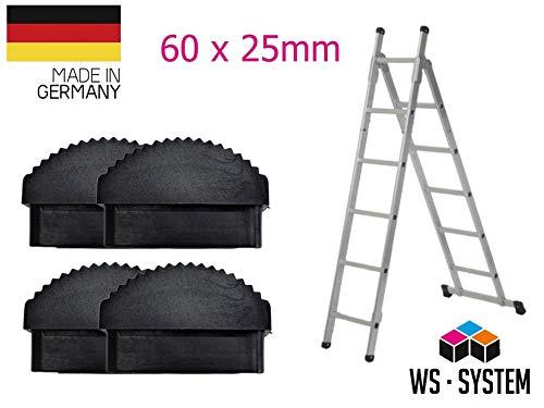 Leiter Gummi-Füße Fuß Gummi Traversenfußkappe Kappe Ersatz Anti-Rutsch (60 x 25mm, 4 STK)