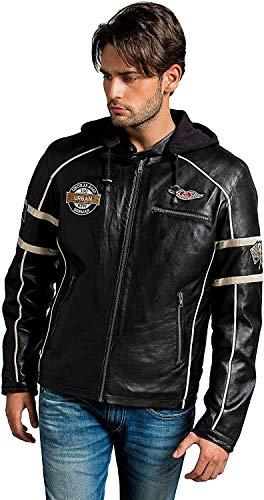 Urban Leather Austin - Chaqueta para hombre de piel de vacuno, protectores aprobados por la CE para espalda, hombros y codos, color negro, talla 5XL