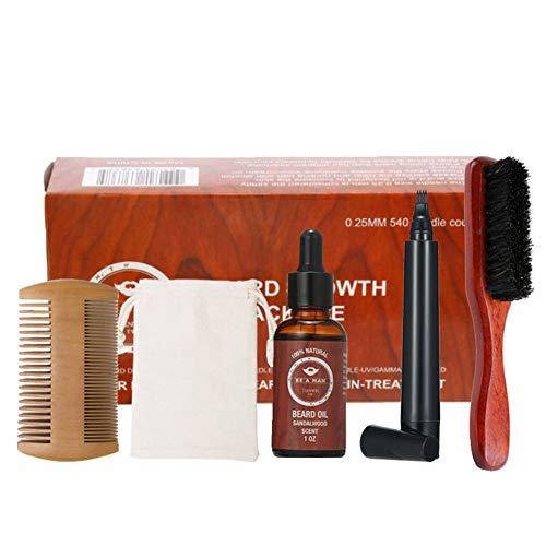 Kit para el cuidado del ajuste de crecimiento de la barba y estética del pelo fijados Barba Barba Peine Cepillo Estimular crecimiento de la barba con sándalo regalo Aceite barba Hombres