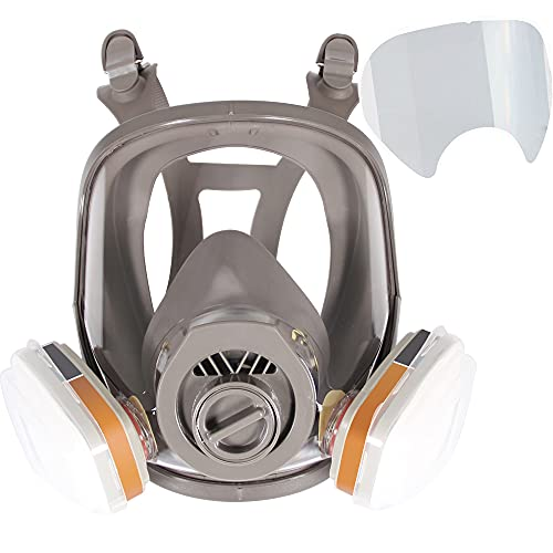 17 in 1 Full Face Respirator Face Cover for Painting Sparying, Organic Vapor and Dust, Two Kinds of Connectors, 10 Pcs Lens Cover Included, Gas Cover Respirator with Organic Vapor Filter