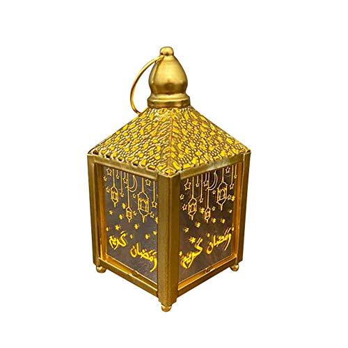 ISAKEN Linterna LED de Ramadán, Linterna de Ramadán con Linterna Colgante Decorativa, El Hogar Interior Festival Al Aire Libre Linternas Decorativas