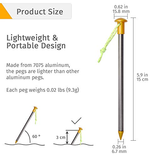 Geertop 4 Pack Ultralight Camping Trap Stakes Aluminum Heavy Duty Large Round Top Ground Tent Pegs with Reflective Cord for Backpacking Tent, Camping Tarp,Tent Footprint, Outdoor Canopy, Beach, Hiking