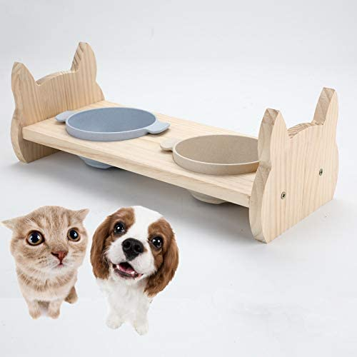 Legendog Raised Cat Dog Food Bowls Tilted Enhanced Pet Bowls Dishes for Cats and Puppy Wooden product image