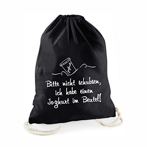 Schwarzer - Statement-Turnbeutel Bitte Nicht schubsen, ich Habe einen Joghurt im Beutel! - Gym-Bag Rucksack Hipster Beutel mit Spruch Tasche Jutebeutel Gymsac Sportbeutel