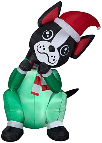 Gemmy 6' Animated Airblown Begging Dog Boston Terrier Christmas Inflatable