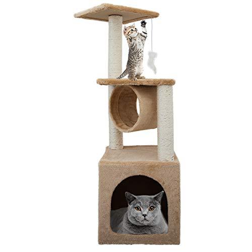COSMOLINO Albero tiragraffi per gatti – Tiragraffi per gatti – Tiragraffi per gatti – gatto – Albero tiragraffi – gatto – Albero tiragraffi – grande (90 cm, BEIGE)
