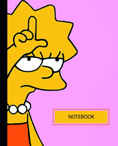 Notebook: Cute Colorful Simpsons Lisa College Ruled Lined Pages (Composition Book, Journal)