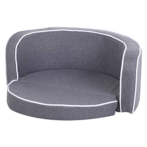 Pawhut Round Pet Sofa Dog Cat Bed Lounge Extendable Couch for Small Medium Sized Pet - Grey