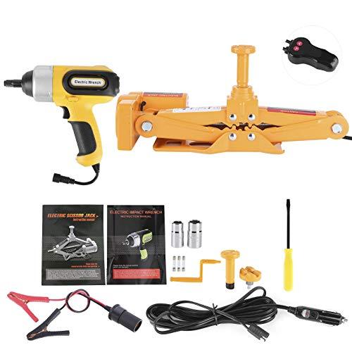 Juego de herramientas de reparación de neumáticos de llave de tijera eléctrica de 3 T 42 cm, juego de herramientas de reparación de neumáticos de elevación plegable, rodamiento fuerte, acero de hierr