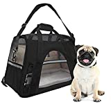 WMHourse Airline Approved Pet Carrier Soft Sided Tote for Medium Sized Cats&Dogs Portable Pet Travel Carrier with Fleece Bedding Black
