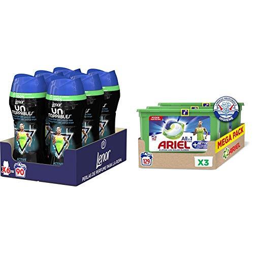 Ariel Pods Allin1 Detergente Lavadora Cápsulas, 129 Lavados (3x43), Active Odor Defence + Lenor UNstoppables Perlas de Perfume para la Ropa, 90 Lavados (6 x 210 gr), Tecnología Active