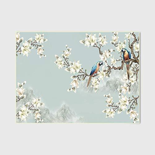Area Rug Soft Mat Indoor Tapijt Elegant Chinese stijl Fresh Lichtblauwe bloemen en vogels slaapkamer deurmatten huiskamer keuken vloermatten Tapijten Home Decoration ZHW345
