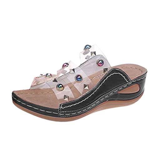 WUSIKY Slippers Pantoffeln Damen Flip-Flops Open Toe Strass Beiläufig Beach Schuhe Wohnungen Bohemian Slippers Strand Modisch Bequem Sandalen Schwarz 42