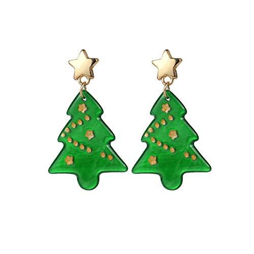 AMAZYJ Christmas Tree Earrings Tree Dangle Hook Christmas Earrings Holiday Party Drop Earrings Small Cute Christmas Costume Jewelry for Women Girls (Acrylic Christmas Tree)