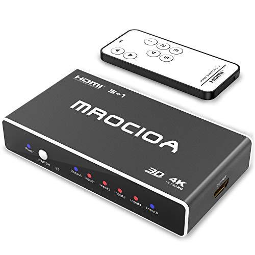 MROCIOA Sdoppiatore Hdmi, Premium 5 Port 4K e 3D ad alta velocità con telecomando, Splitter Hdmi Switch per PS4 Pro Xbox One Fire TV Apple TV SKY BOX STB DVD Laptop Roku.