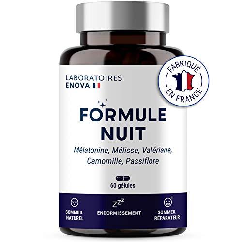 FORMULE NUIT | Mélatonine 1,9 mg + Plantes : Valériane, Mélisse, Camomille, Passiflore | Complément Alimentaire pour Dormir 100% Naturel | 60 nuits de Sommeil Naturel | Fabriqué en France
