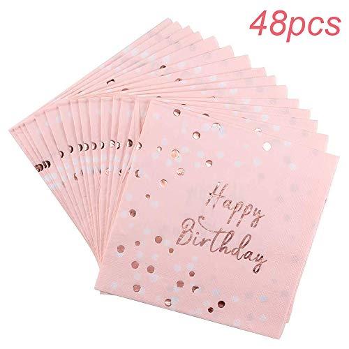 WENTS Servietten Geburtstag Rosegold Happy Birthday Servietten Rosa Pinke,Hochwertige Papierservietten Rosa Gold 33x33cm für Mädchen Geburtstag Party Deko ,48 Stück