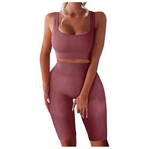 VEMOW Conjuntos Deportivos para Mujer Top de Running de Sin Mangas 2 Piezas Pantalones Cortos de Cintura Alta Yoga, Acanalado Entrenamiento Súper Elásticos Sin Costuras para Gimnasio(Café,XL)