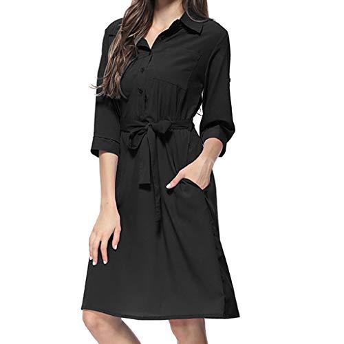 Kiasebu vrouwen Casual Turn Down kraag 3/4 mouw knop Down Pocket Shirt jurk met riem Tuniek Top