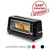 Dash Clear View Toaster, Extra Wide Slot Toaster with Stainless Steel Accents and See Through Window - Defrost, Reheat and Auto Shut Off Feature for Bagels, Specialty Breads and more, Black (Renewed)