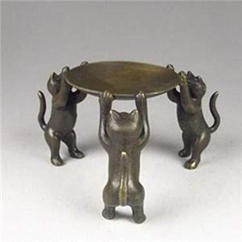 QWERTOUY Chinesische Bronzeplatten-Katzen Tier 3 Cat Öllampe Kerzenhalter Kerzenständer Statue