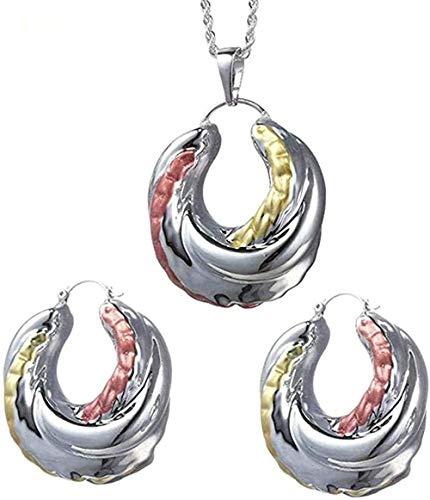 NC110 Collar Nigeriano/Congo Femenino Colorido Aceite Redondo Aro Grande Joyas Color Plata Pendiente Nigeriano Colgante Accesorios Longitud 60Cm Collar