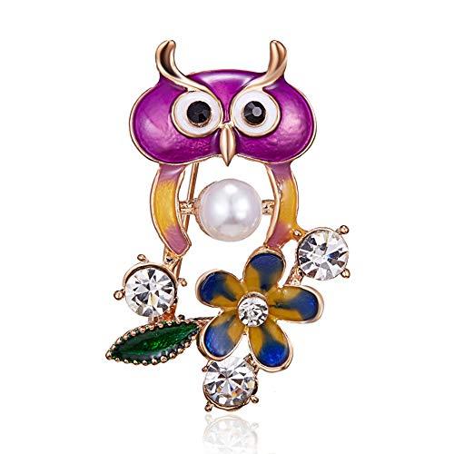KXHZJM uil broche email vogel dier kleding accessoires vrouwen kristal broches hijab pins clips cadeau